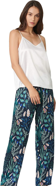 LilySilk Women's Long Silk Camisole Set 100% Silk 19 Momme Pure Silk Pajama Set