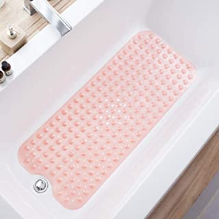 Teeshly Bathtub Mats for Shower Tub Extra Long Non-Slip Bath Mat, 39 x 16 Inch Shower Mat with Drain Holes and Suction Cups, Bath Tub Mat for Bathroom with Machine Washable (Clear Coral Pink)