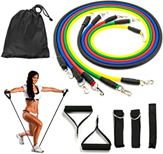 Koncle 11 pcs Resistance Band Set, with 5 Exercise Bands, Door Anchor, Handles, Ankle Straps - for Resistance Training, Physical Therapy, Home Workouts