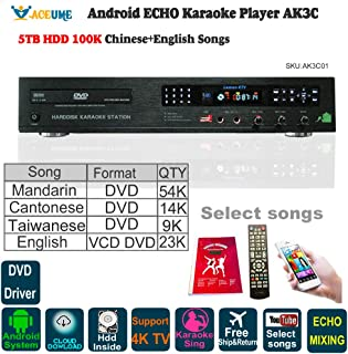 5TB HDD, 100K Chinese+English Karaoke Songs, Android HDD Karaoke Player/Jukebox,Cloud Download,ECHO Mixing,DVD Driver. Remote Contoller,Youtube songs selected