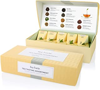 Tea Forte Tea Tasting Assortment Petite Presentation Box Tea Sampler, Assorted Variety Tea Box, 10 Handcrafted Pyramid Tea...