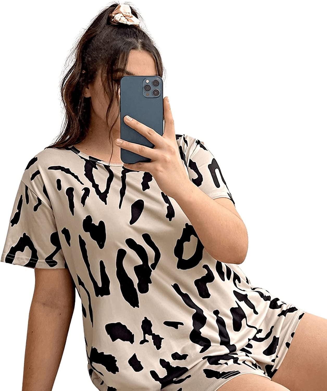 SOLY HUX Women's Plus Size Printed Short Sleeve Tee Top and Shorts Pajama Set Sleepwear