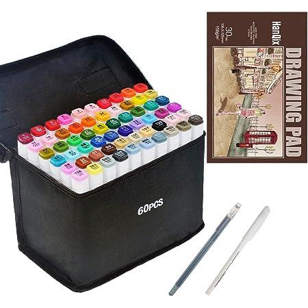 HanQix marqueurs à dessin, dessin animé, dessin et dessin à double pointe pour artiste Manga Graphic, pinceau avec bloc de papier A5 (60 couleurs)