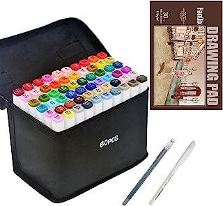 Hanqix Marker Pen Set Dibujo rotulador Animación Boceto Marcadores Set de Doble Marcador de Punta para el Artista gráfico ...