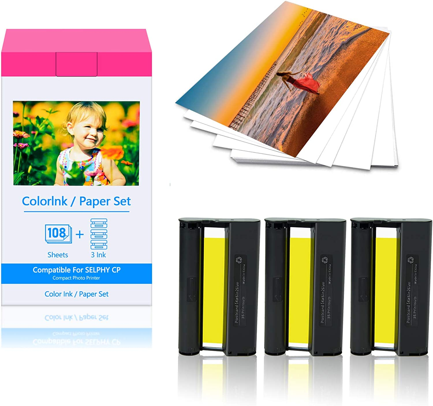 KCMYTONER 1 Pack Compatible for Canon Same day shipping Large discharge sale Color Ink KP108 KP-108IN 3