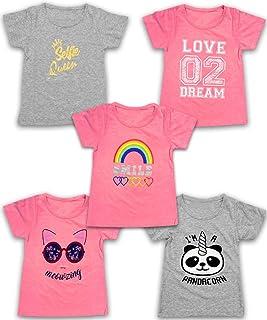 MISS POPULAR Girls 5-Pack Printed T-Shirts, Pink Grey Short Sleeve, Crew Neck. Unicorn, Panda, Selfie, Rainbow. Size 4-16