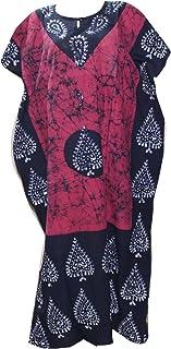 Odishabazaar Women's Indian Cotton Batik Paisely Floral Printed Kaftan Dress