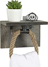 MyGift Vintage Gray Wood and Black Industrial Pipe Bathroom Wall Mounted Shelf with Hand Towel Rope Ring