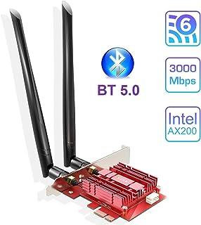 EDUP WiFi 6 Card AX 3000Mbps PCIe Network Card AX200 802.11AX 2.4Ghz/5,8 GHz con Bluetooth 5.0 & Heat Sink Wireless PCI Express Wi-Fi Adapters Dual Band Antenna para Windows 10 64 bit