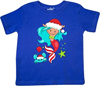 inktastic Christmas Holiday Mermaid with Cute Crab Toddler T-Shirt