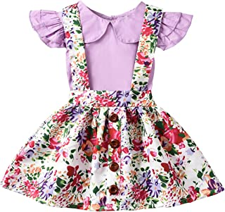 Baby Girls' Ruffled Sleeve Top and Floral Suspender Skirt Sets