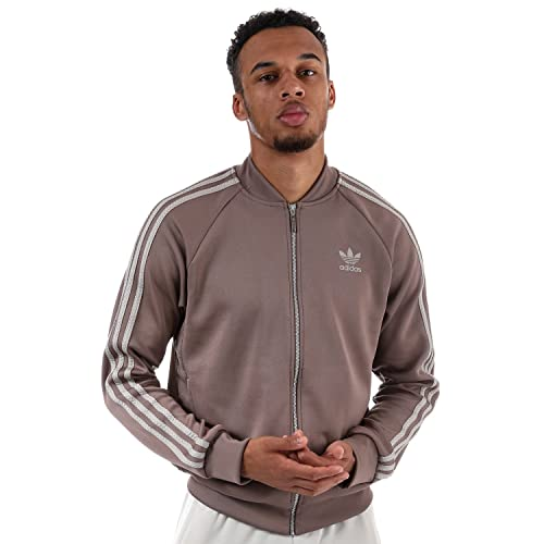 48ebfcde381 adidas Originals Mens SST Mesh Track Top in Brown- Ribbed Cuffs, Collar and  Hem