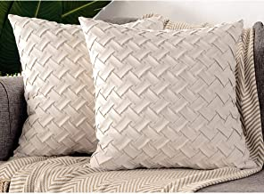 Zealax Hand-Made Throw Pillow Covers 20 x 20 Inch Decorative Pillow Cases Weave Pattern Cushion Covers for Sofa Couch Bedr...