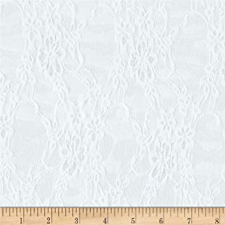 Ben Textiles Giselle Stretch Floral Lace White Fabric By The Yard