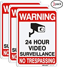Video Surveillance Sign, MOLAER 3-Pack No Trespassing Signs, 10