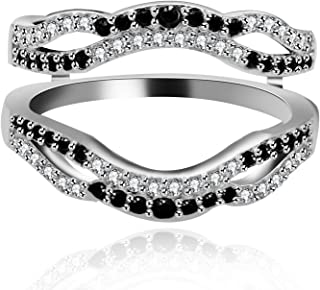 Platinum Plated Wedding Engagement Anniversary Promise Rings Enhancer Infinity Rings Enhancer for Women Girls with Black White Cubic Zirconia Created Diamond Ring Y444