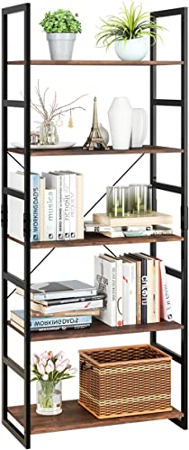 Homfa Bookshelf Rack 5 Tier Vintage Bookcase Shelf Storage Organizer Modern Wood Look Accent Metal Frame Furniture Ho...