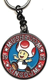 Bioworld Super Mario Bros Mushroom Kingdom 1985 Black Keychain, Regular