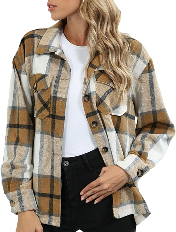 Women's Plaid Long Sleeve Button Down Shirt Jacket Loose Oversized Blouse Top Coat