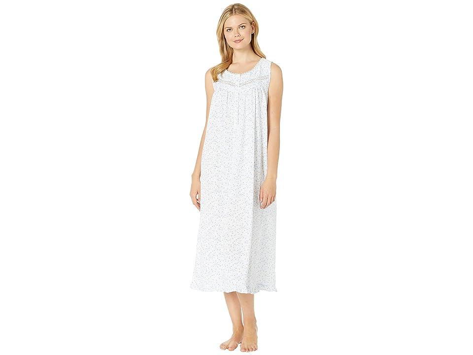 Eileen West Sheer Jersey Ballet Nightgown (White Ground Mono Scroll) Women