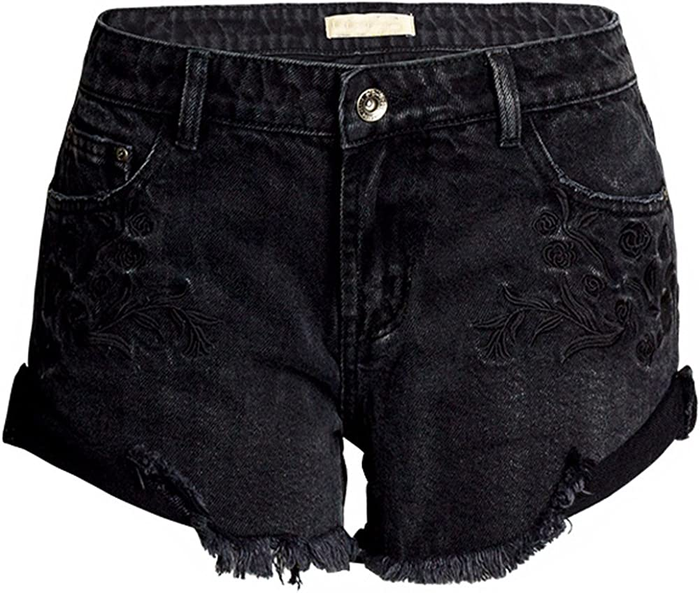 LIYT Women's Black Embroidered Loose Wide Leg Denim Shorts Short Jeans