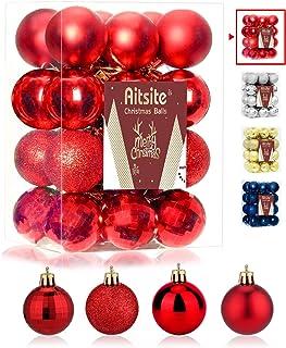 Aitsite 24PCS Bolas de Navidad 4 cm Bolas de árbol de Navidad Adorno de Pared Colgante de Pared Adornos Decoraciones Árbol...