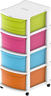 Cosmoplast 4 Tiers Multipurpose Storage Cabinet with Wheels, White Mix Drawers