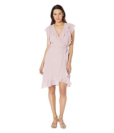 American Rose Thandie Sleeveless Ruffle Wrap Dress (Pink) Women