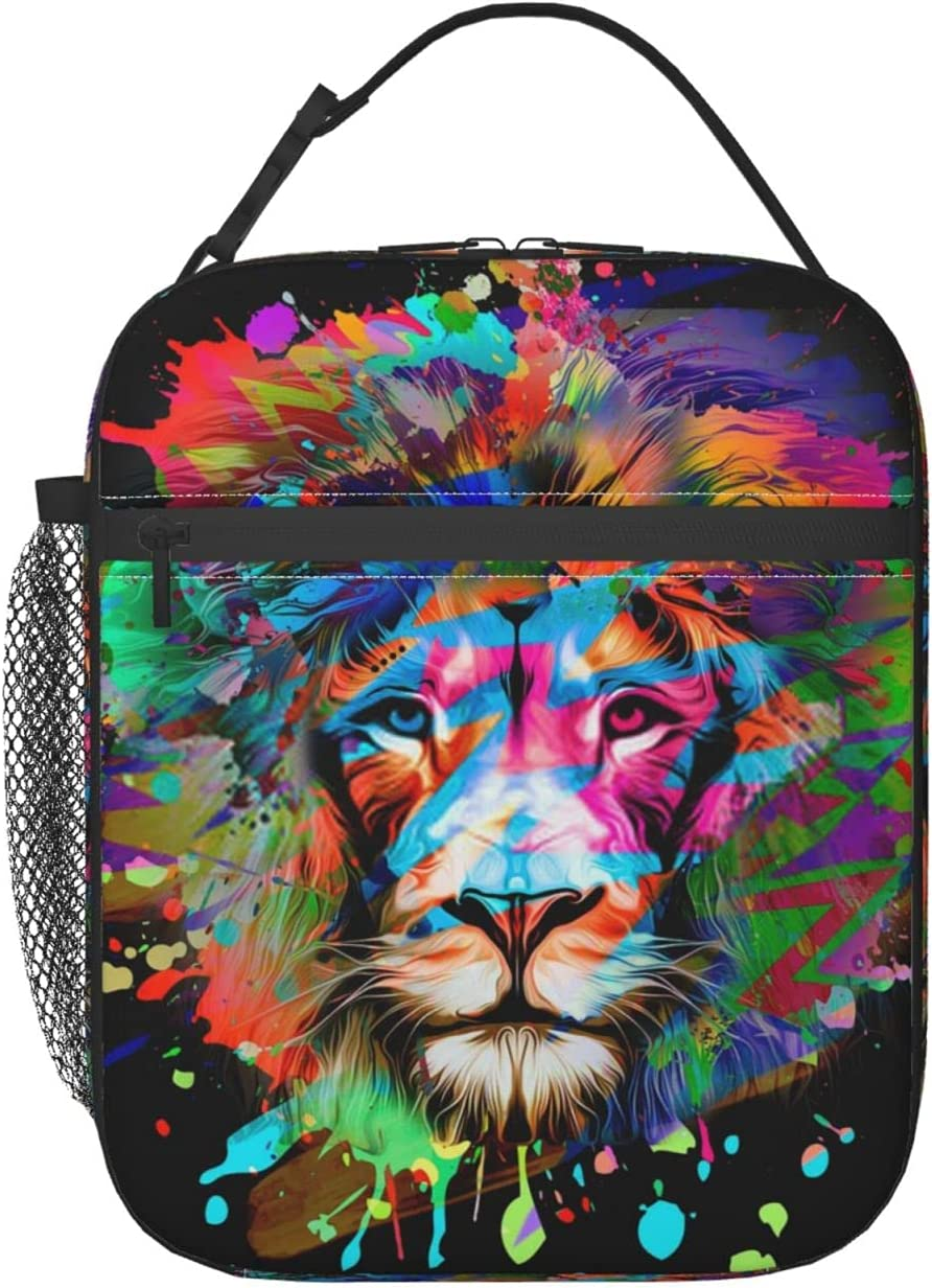 Rainbow Splash Lion Head lunch fo insulated women bags Large special Memphis Mall price bag