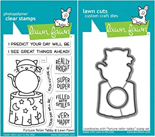 Lawn Fawn Fortune Teller Tabby Clear Stamps and Coordinating Dies - Bundle of 2 Items (LF2016, LF2017)