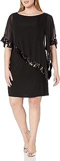 Xscape Women's Plus-Size Short ITY Dress with Sequin Trim Chiffon Overlay