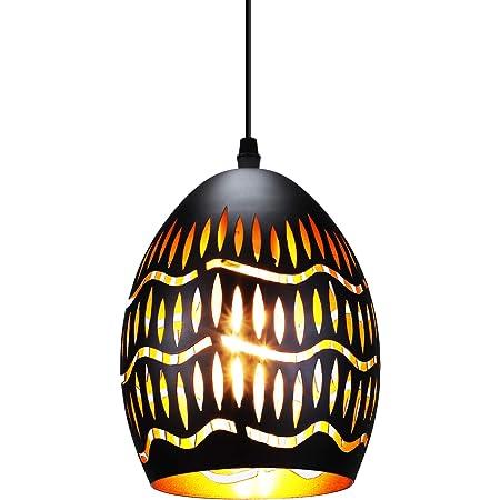 Lampes à suspension industrielles abat-jour percé, laque vintage créative en métal fini noir lampe à suspension creuse noire E27 Base suspendue luminaire suspendu pour salon/cuisine/couloir