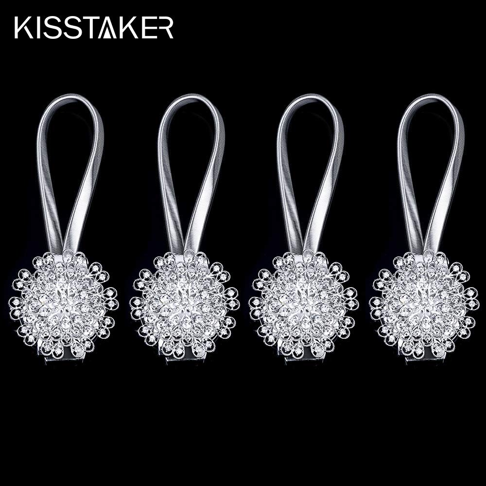 Crystal Curtain Holdbacks Blossom Diamond Clips with Stretchy Wire Rope for Home Office Decoration,Silver KISSTAKER Magnetic Tieback Pack of 2