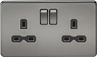 Knightsbridge SFR9000BN Screwless 13A 2G Dp Switched Socket Nickel with Black Insert