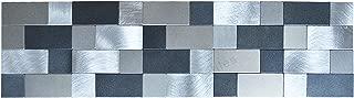 Crystiles Peel and Stick Brushed Metal Border Tile Pencil Liner Tile, 15