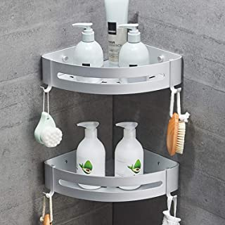 SEVENS No Drilling 2 Tiers Bathroom Shower Corner Shelf Adhesive Corner Caddy for Shower Kitchen Organizer Storage Durable Space Aluminum with 4 Removable Hooks