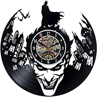The Dark Knight Batman The Joker Vinyl Wall Clock 12 in(30cm) Black Decor Modern Decorative Vinyl Record Wall Clock This Clock is A Unique Gift to Your Friends and Family for Any Occasion