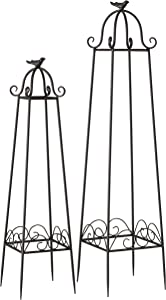 WHW Whole House Worlds Farmer's Market Garden Obelisk Trellises, Set of 2, Bird Finial Tops, for Plants, Climbing Flowers and Vines, Metal, Rustic Dark Brown, 39.25 Inches and 31.5 Inches Tall, Iron