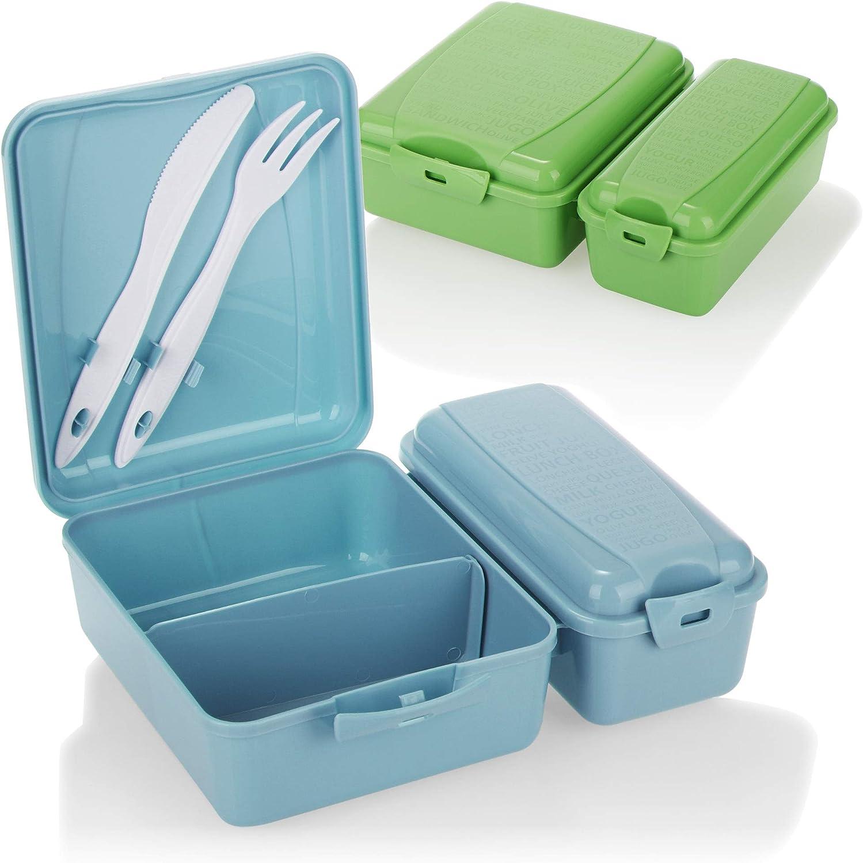 COM-FOUR® 2x fiambrera con dos compartimentos separados, fiambrera, fiambrera para llevar, con cubiertos, cuchillo y tenedor en la tapa (2 piezas - azul verde)
