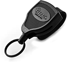 KEY-BAK SUPER48 Locking Retractable Keychain, Black Polycarbonate Case, Leather Duty Belt Loop, Oversized Split Ring and Made in the USA