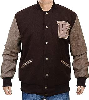 KAAZEE Mens B Logo Versity Wool Brown Lettermen Bomber Jacket