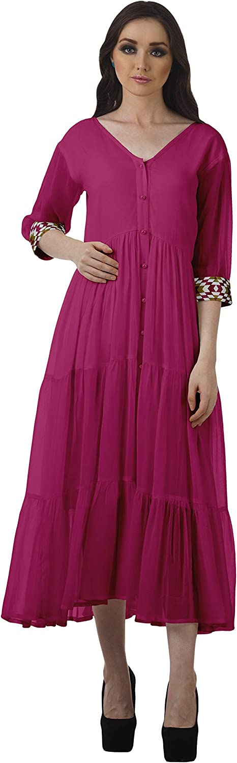 Moomaya V-Neck Weekly update Button Weekly update Down Tiered Maxi Dresses Dress Women Party