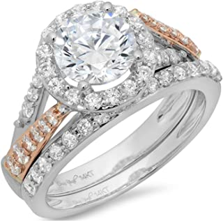 1.90ct Round Cut Pave Halo Split Shank Solitaire Accent Lab Created White Sapphire & Simulated Diamond Engagement Promise Statement Anniversary Bridal Wedding Ring Band set Real 14k 2 tone Gold