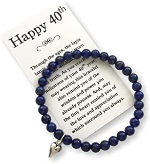 Birthday Jewelry Gift Woman Turning 40 – Bead Bracelet Meaningful Message Card & Gift Box