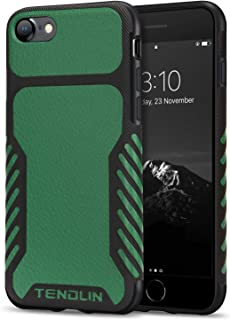 TENDLIN Compatible with iPhone SE 2020 Case/iPhone 8 Case/iPhone 7 Case Leather Texture TPU Hybrid Grip Case (Green)