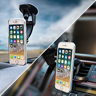 2-for-1 Magnetic Phone Holder for Car - 2-Pack, Mount Phone or GPS to Windshield or Air Vent, Extra-Strong Magnets, Fits iPhone X 8 7 6 5 Samsung Galaxy S8 S7 S6, LG V30 HTC One, Nokia Phones & More