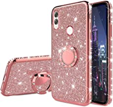 HMTECHUS Huawei Honor 8X case Glitter Bling Diamond Luxury Plating Silicon TPU Soft Cover with Ring Stand Holder Ultra-Thin Protection Compatible with Huawei Honor 8X Plating TPU Rose Gold KDL