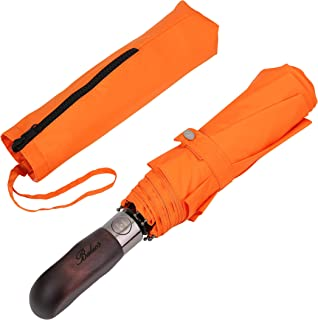 Balios Prestige Travel Umbrella, Real Wood Handle, Auto Open & Close, Vented Windproof Double Canopy, Designed in UK