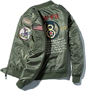 ジャンパー メンズ MA-1 中綿レザー選択可 アメカジ フライトジャケット 刺繍ワッペン B2015