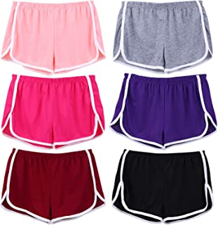 selizo 6 Pack Cotton Sport Shorts Pants Yoga Dance Comfy Short Dolphin Running Athletic Casual Shorts for Women